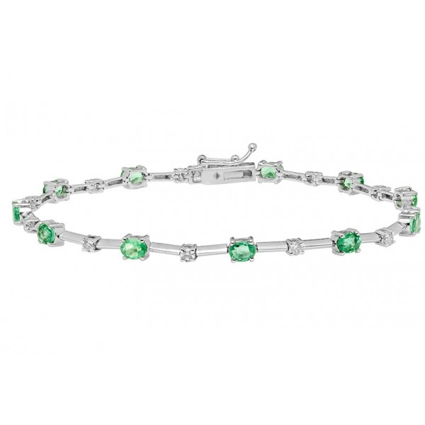 Emerald and Diamond Delicate Link Bracelet made in 18k White Gold (1.84 cts)