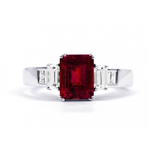 Burmese Ruby And Diamond Ring made in 14k White Gold (Ruby-1.66 ct)
