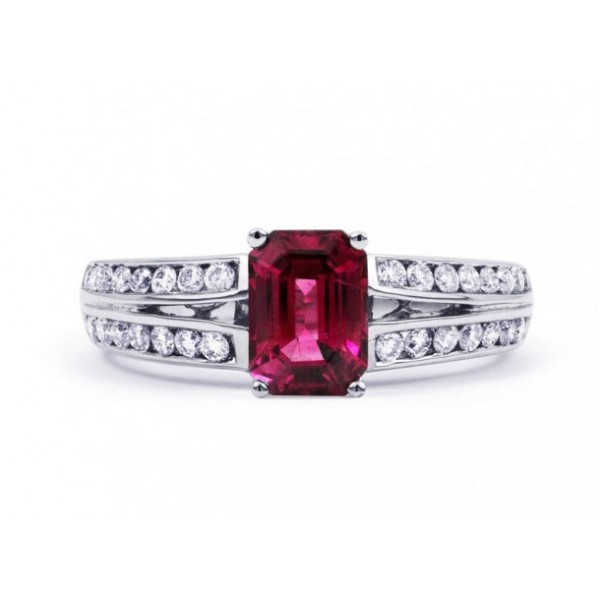 Burmese Ruby And Diamond  Ring Set in 14k White Gold (Ruby-1.15 ct)