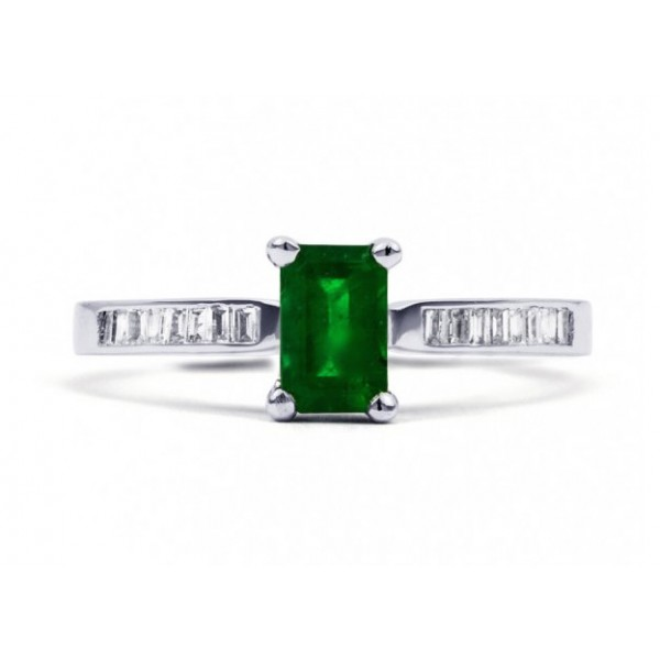 Emerald And Diamond Ring made in 14ct White Gold ( 0.48ct Em)