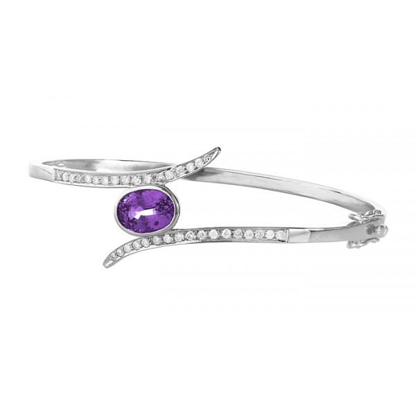 Twisted Amethyst and Diamond Bangle made in Gold (2.7ct)