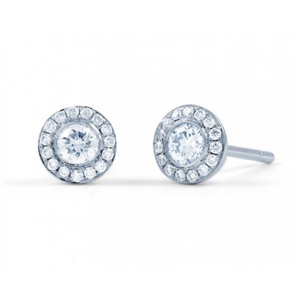 Diamond Halo Earrings In 14k White Gold (0.5 Ct)