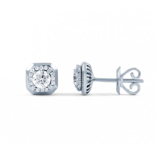 Diamond Stud Earrings In 14k White Gold (0.5 cts)