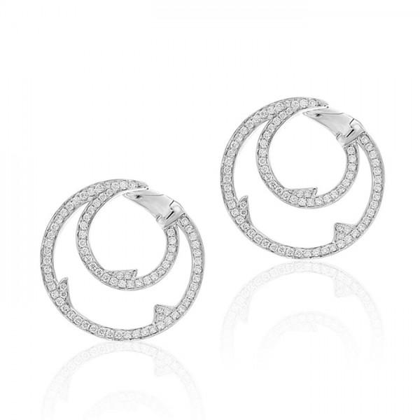 Round Drop Dress Diamond Earring Set in 14k White Gold ( 1.19ct)