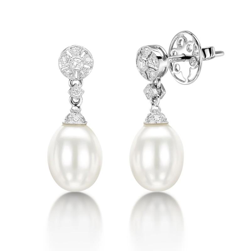 Diamond Pearl Drop Earring Set In 14k White Gold 0 17ct