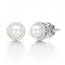 Freshwater Pearl and Diamond Earring Set in 14k White Gold ( 0.2ct)