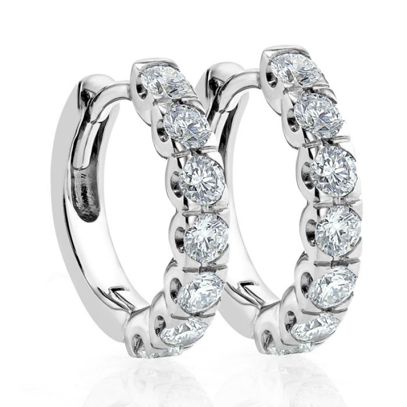 Diamond Small Hoop Earring Set In 14k White Gold 0 76 Ct