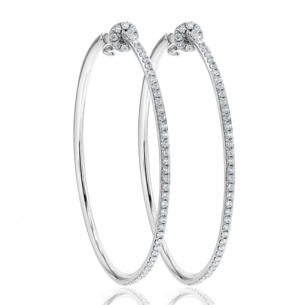 Diamond  Hoop Earring Set in 14K White Gold (0.73 ct)