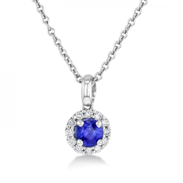 Blue Sapphire And Diamond Pendant made in 14k White Gold (1ct BS)