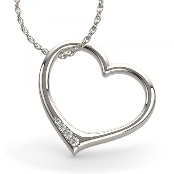 Heart Pendant made in 14k White Gold (0.05 ct)