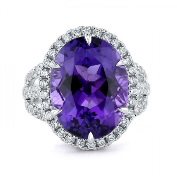 Amethyst And Diamond Triple Band Ring Made in 14k White Gold (7cts Amethyst)