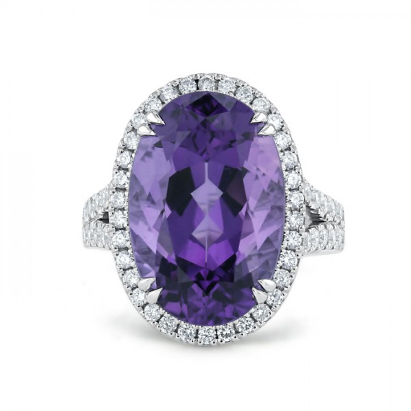 Amethyst And Diamond  Ring Made in 14k White Gold (6.5cts Amethyst)