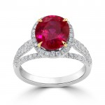 Burmese Ruby And  Diamond Ring set in 14ct White Gold (Ruby-0.9 ct)