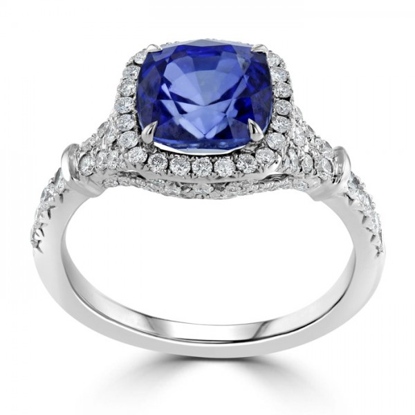 Blue Sapphire And  Diamond Ring set in 14ct White Gold (3cts  BS)