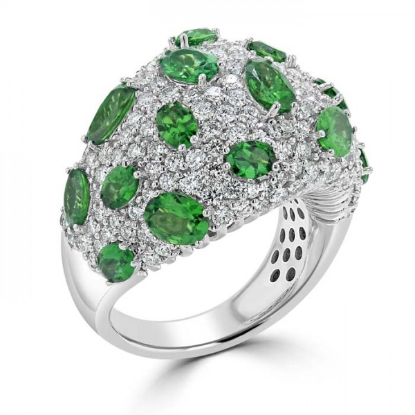 Green Garnet And  Diamond Domed Ring set in 14ct White Gold ( 4cts Green Garnet)