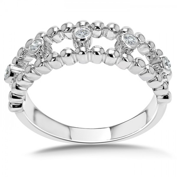 Beaded Band Diamond Ring Set in 14k White Gold (0.25cts)