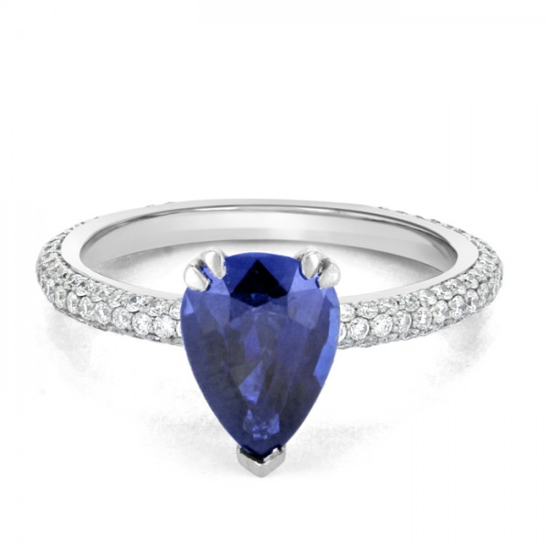 Blue Sapphire And  Diamond Ring set in 14ct White Gold ( 0.6cts BS)