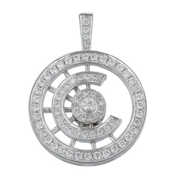Diamond Pendant made in 14k White Gold (0.78 cts)