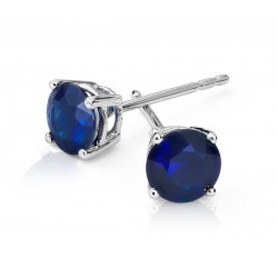 Blue Sapphire Earring set in 14k White Gold (BS-1.5 cts)