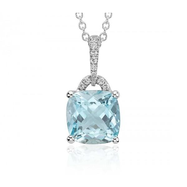 Aquamarine And Diamond Pendant Set in 14k White Gold( 2cts Aquamarine )
