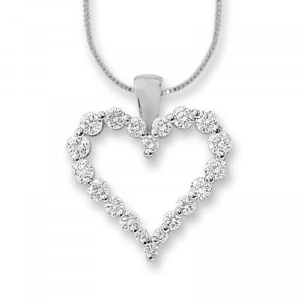 Diamond Heart Pendant made in 14k White Gold (0.35 ct)