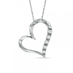 Diamond Heart Pendant Set in 14k White Gold (0.12ct )