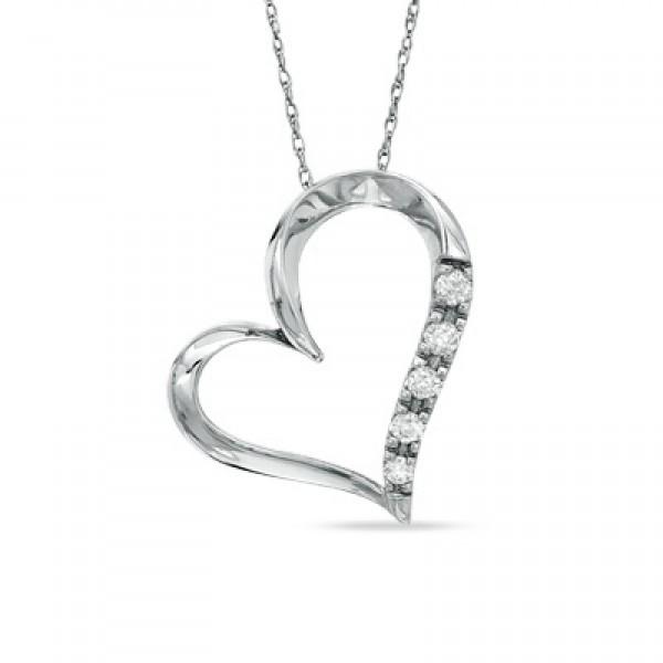 Diamond Heart Pendant Set in 14k White Gold (0.12ct )